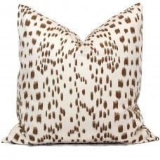 Brunschwig Fils Les Touches Throw Pillow Cover with Zipper, Designer Cushions, Spotted Animal Print Decor, Square, Lumbar and Custom Sizes 463