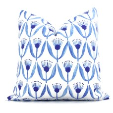 Royal Blue Dilly Flower Decorative Pillow Cover, Square or Lumbar Throw Pillow, Accent Pillow, Pillow Sham blue white Watercolor flowers 465