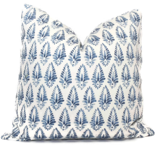 Light Blue and White Block Print Decorative Pillow Cover, 18x18, 20x20, 22x22, 24x24, 26x26, lumbar pillow Lacefield Designs Agave 466
