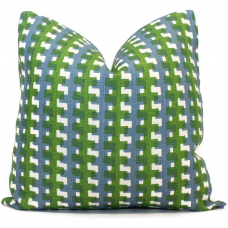 Christopher Farr Green Blue Cremaillere Decorative Pillow Covers 18x18, 20x20 or 22x22, 24x24, 26x26 or lumbar pillow Raoul Dufy, blue plaid 468