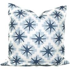 Peter Dunham Blue Starburst Decorative Pillow Cover 18x18, 20x20, 22x22, 24x24, Eurosham or Lumbar Pillow, Throw pillow 471