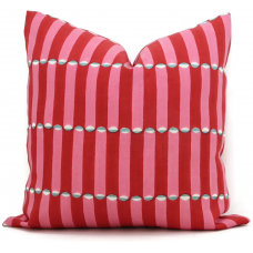 Red and pink wood block Molly Mahon Decorative Pillow Cover 18x18, 20x20, 22x22, Eurosham or lumbar wood block print Schumacher luna 475