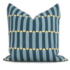 blue wood block Molly Mahon Decorative Pillow Cover 18x18, 20x20, 22x22, Eurosham or lumbar wood block print Schumacher luna 475