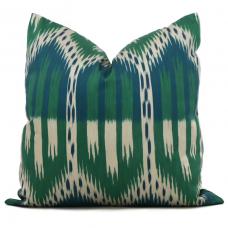 Magenta Schumacher Bukhara Ikat Decorative Pillow Cover 18x18, 20x20, 22x22 or lumbar pillow - Throw, Accent Pillow - Toss Pillow, green Ikat 488