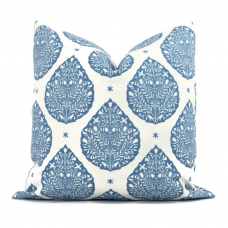 Wedgewood Blue Lotus Flower Decorative Pillow Cover, Throw Pillow, Accent Pillow, Pillow Sham, Cushion cover 489