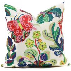 OUTDOOR Decorative Pillow Cover Exotic Butterfly in Spring 18x18, 20x20, 22x22, 24x24, Eurosham, Lumbar Pillow, Floral pillow, Josef Frank 490