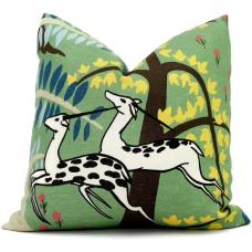 Jade Schumacher Antelopes Decorative Pillow Covers 18x18, 20x20 or 22x22, 24x24, 26x26 or lumbar pillow, Paul Poiret 491