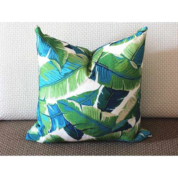 Tropical Palm Leaf Pillow Cover Large Turquoise Green Dark Light Decorative Outdoor 276
