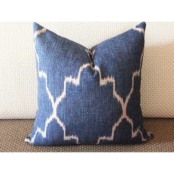 Navy Blue Ikat Pillow Cover 18x18 20x20 22x22 24x24 Cotton Linen Covers 277