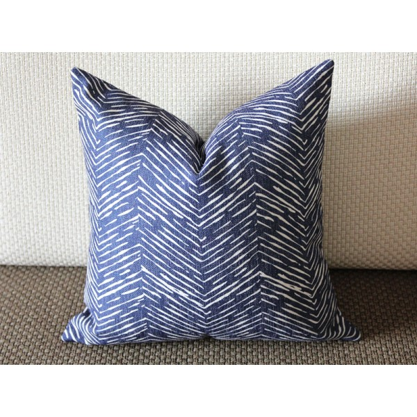 Waves Modern Navy Blue Pillow Cover 16x16 18x18 20x20 More Sizes Perfect 328