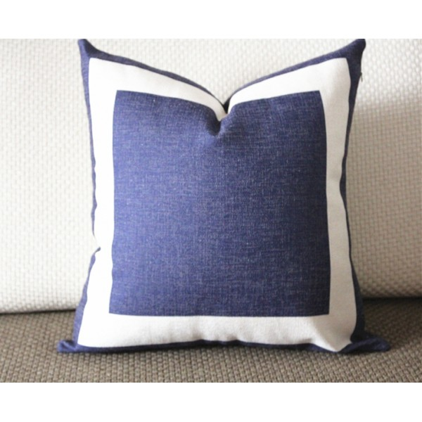 10 Colors Navy Blue Cotton Canvas Decorative Throw Pillow Cover With Off White Grosgrain Cushion Covers Geometric 18x18 20x20 22x22 339