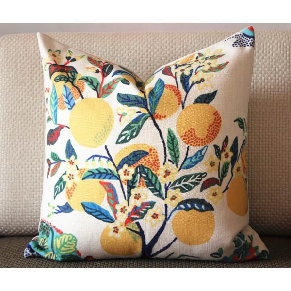 Ideal Citrus Garden pillow Yellow and Green botanical pillow floral  DG29